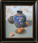 Dark Blue Vase With Oranges